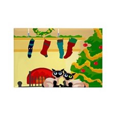Christmas Siamese Cats Rectangle Magnet