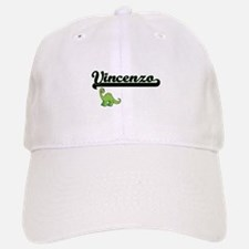 Vincenzo Classic Name Design with Dinosaur Baseball Baseball Cap