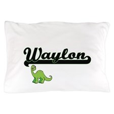 Waylon Classic Name Design with Dinosa Pillow Case