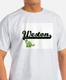 Weston Classic Name Design with Dinosaur T-Shirt