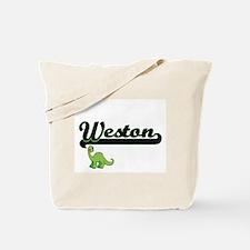 Weston Classic Name Design with Dinosaur Tote Bag
