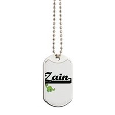 Zain Classic Name Design with Dinosaur Dog Tags