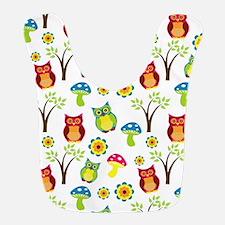 Cute Owl Floral Pattern Bib