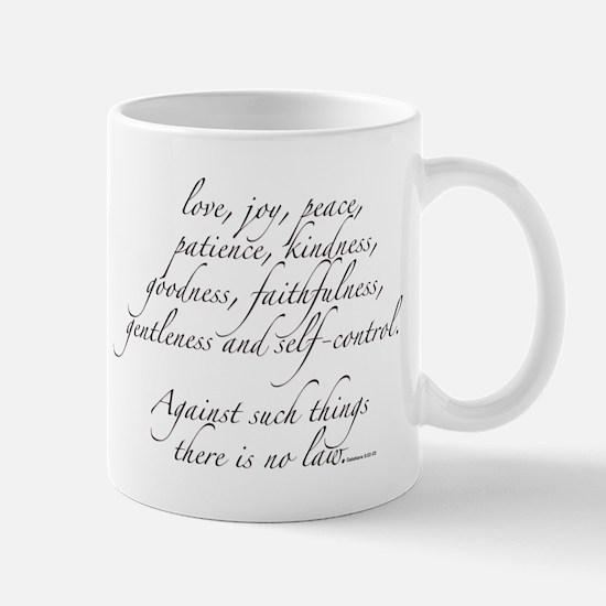 Fruits of the spirit (black text) Mugs