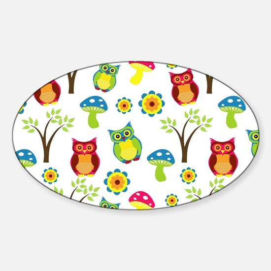 Cute Owl Floral Pattern Decal