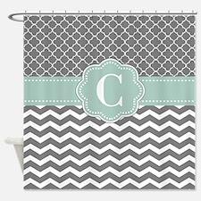 Gray Mint Chevron Quatrefoil Monogram Shower Curta
