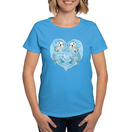 sea otters holding hands Women's Dark T-Shirt