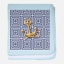 gold anchor blue geometric pattern baby blanket