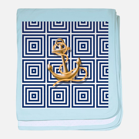 gold anchor blue geometric pattern baby blanket