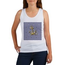 gold anchor blue geometric pattern Tank Top
