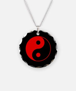 Red Yin Yang Symbol Necklace