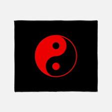Red Yin Yang Symbol Throw Blanket