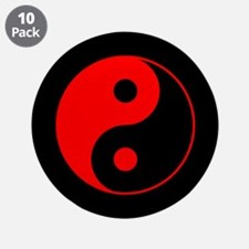 "Red Yin Yang Symbol 3.5"" Button (10 pack)"