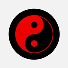 Red Yin Yang Symbol Button