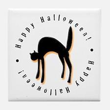 Black Cat Halloween Tile Coaster