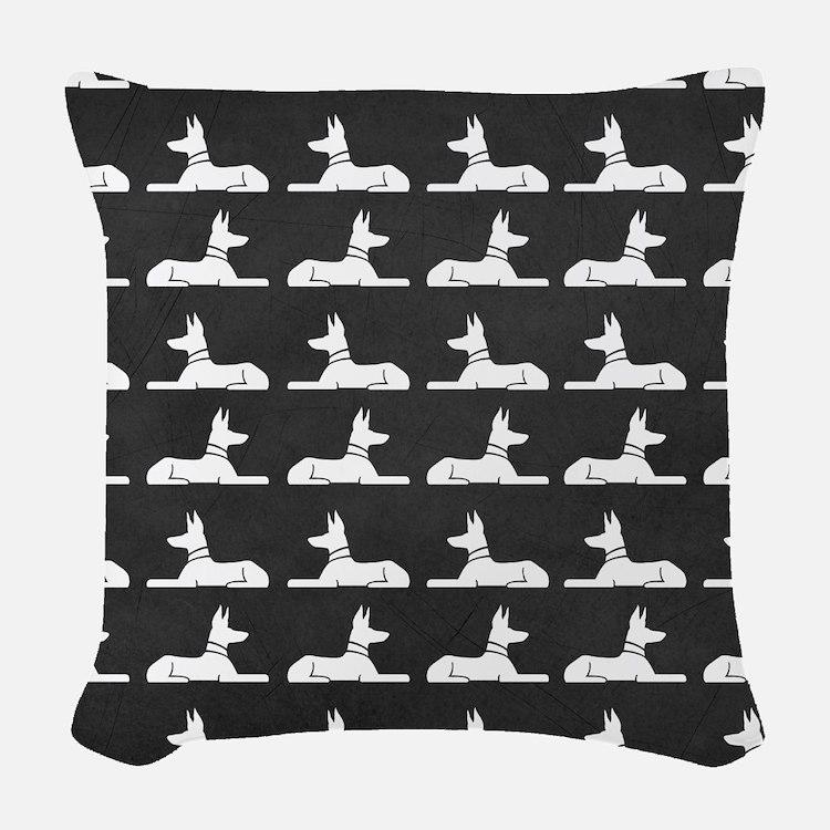 Pharaoh Hounds Pattern Woven Throw Pillow