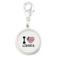 I Love Liberia Silver Round Charm