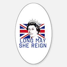 Queen Elizabeth II:  Long May She R Sticker (Oval)