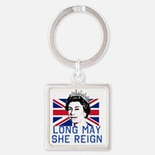Queen Elizabeth II:  Long May She  Square Keychain