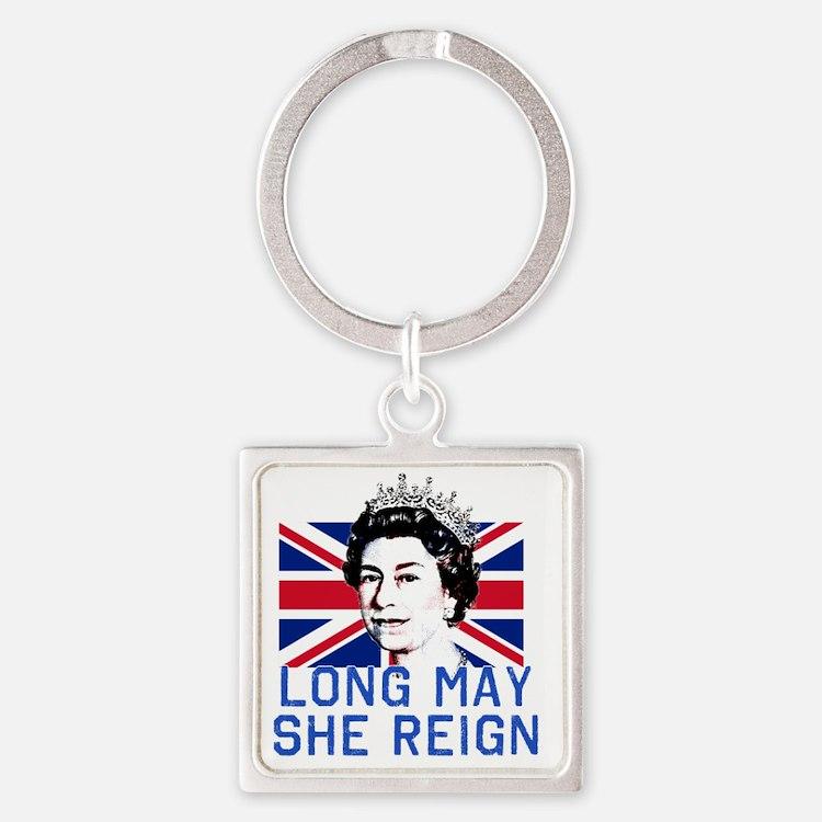 Queen Elizabeth II:  Long May She  Square Keychain