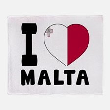 I Love Malta Throw Blanket