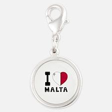 I Love Malta Silver Round Charm