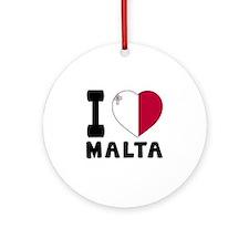 I Love Malta Round Ornament