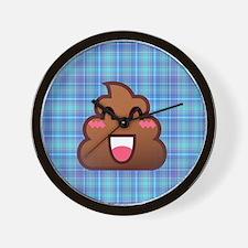 plaid poo emoji Wall Clock