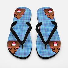 plaid poo emoji Flip Flops