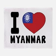 I Love MYANMAR Throw Blanket