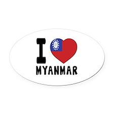 I Love MYANMAR Oval Car Magnet