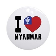 I Love MYANMAR Round Ornament