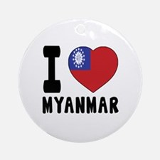 I Love MYANMAR Round Ornament