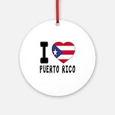I Love PUERTO RICO Round Ornament