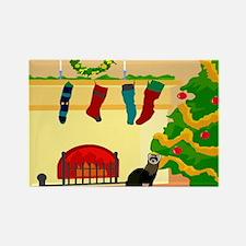 Christmas Ferret Rectangle Magnet