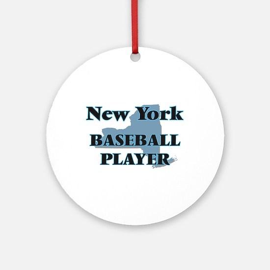 New York Baseball Player Round Ornament