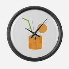 Orange Juice Large Wall Clock