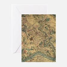 Vintage Antietam Battlefield Map (1 Greeting Cards