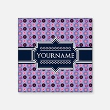 "Personalized Purple Blue Fl Square Sticker 3"" x 3"""