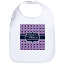 Personalized Purple Blue Floral Pattern Bib