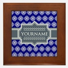 Blue Abstract Celtic Pattern Personali Framed Tile