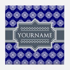 Blue Abstract Celtic Pattern Personal Tile Coaster