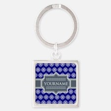 Blue Abstract Celtic Pattern Perso Square Keychain