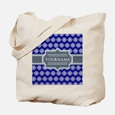 Blue Abstract Celtic Pattern Personalized Tote Bag