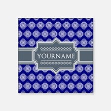 "Blue Abstract Celtic Patter Square Sticker 3"" x 3"""