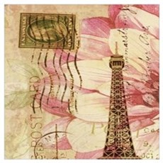 floral vintage paris eiffel tower Poster