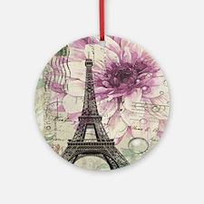 floral vintage paris eiffel tower Round Ornament