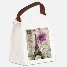 floral vintage paris eiffel tower Canvas Lunch Bag