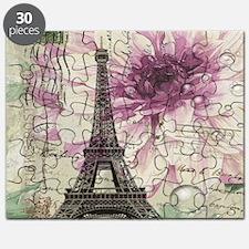 floral vintage paris eiffel tower Puzzle