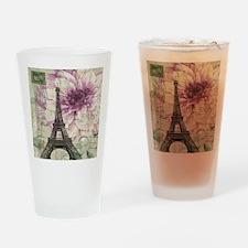 floral vintage paris eiffel tower Drinking Glass